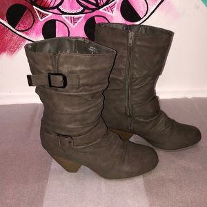 Ardene Olive Green Ankle Slouch Heeled boot